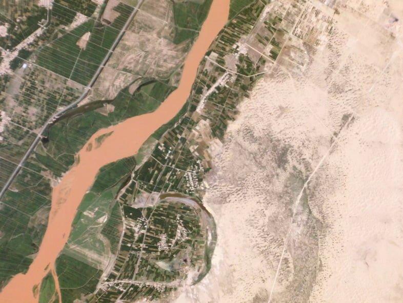 Аэроснимок опустынивания в Китае