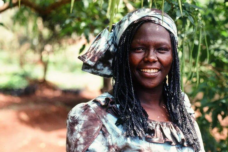 Портрет Вангари Маатаи на фоне деревьев