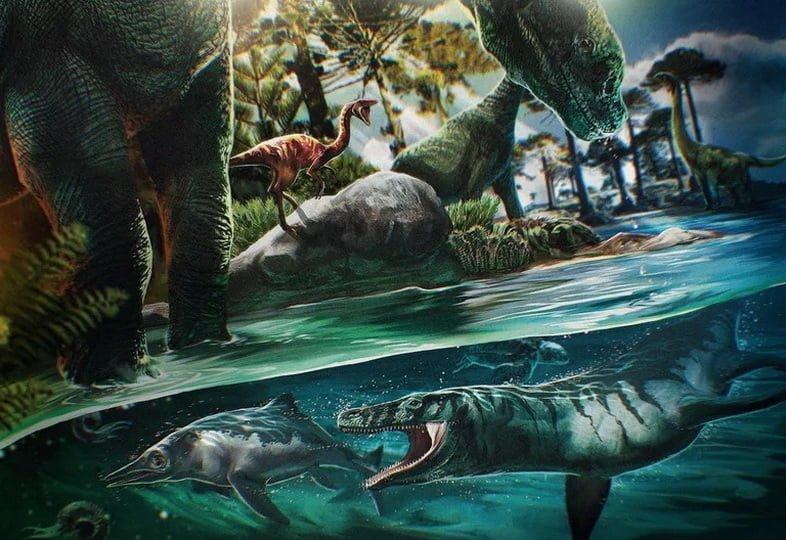 Художественное изображение динозавров 125 миллионов лет назад