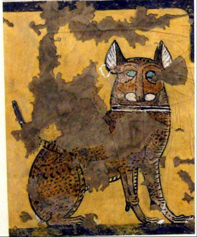 Эта картина с изображением кошки, сидящей под стулом, была найдена в гробнице Ипуй и относится к Новому царству/Рамессиды