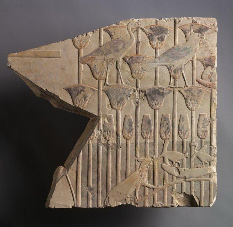 Сцена на болоте с кошкой и птицами, датируемая 667-647 гг. до н.э., датируемая Поздним периодом Египта