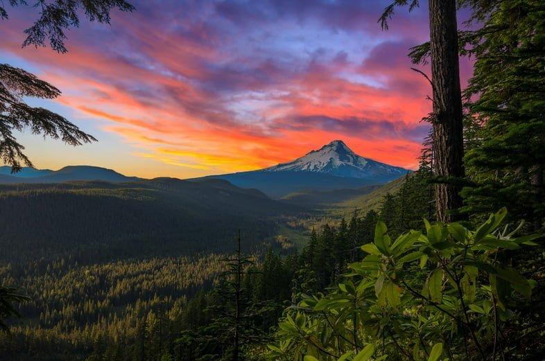 Красивый вид на гору Худ в Орегоне, США