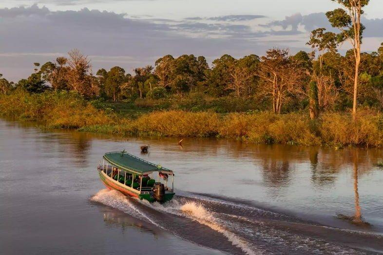Пассажирский транспорт – скоростной катер на рассвете в Амазонке