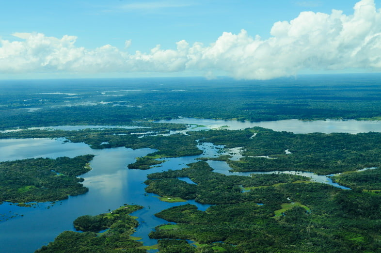 Крупная по объему, река Амазонка