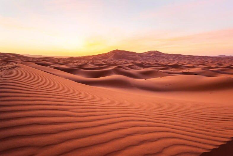 Песчаные дюны пустыни Сахара на рассвете