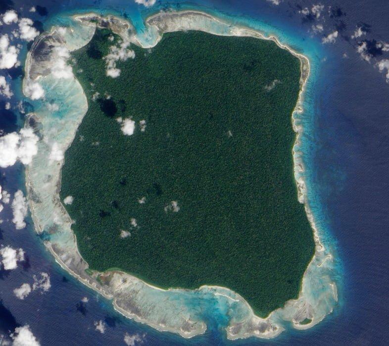 Вид со спутника на Северный Сентинельский остров