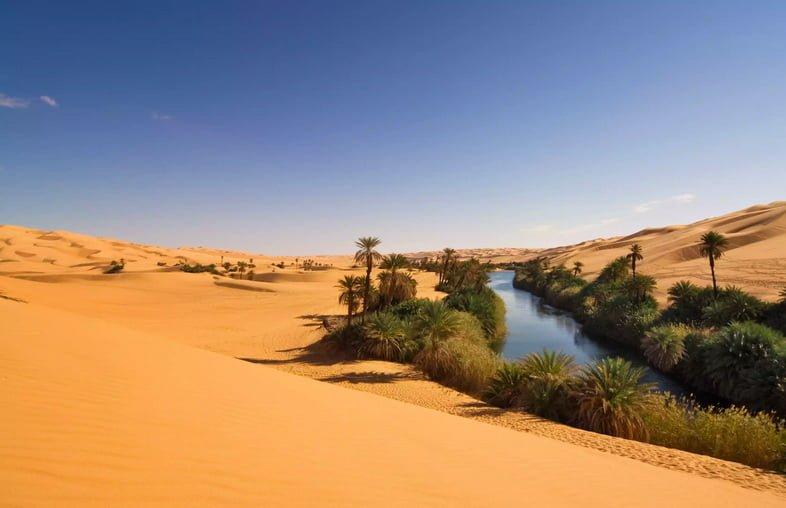 Оазис Умм-эль-Ма с водой и пальмами в окружении песчаных дюн в ливийской части Сахары в Феццан-Авбари