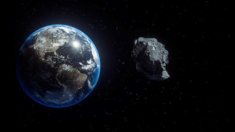 3D-иллюстрация астероида, пролетающего мимо Земли