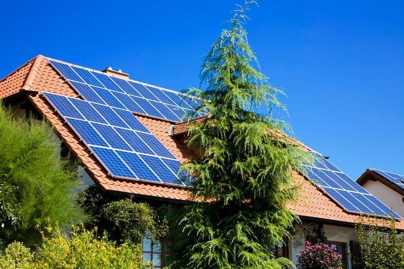 Дом с крутой терракотовой крышей, покрытый множеством солнечных панелей, окруженный деревьями и кустарниками