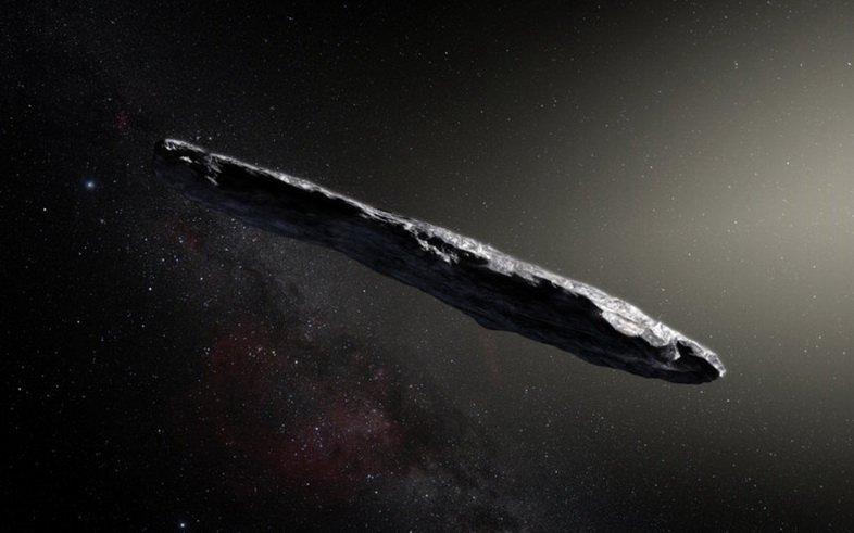Художественное изображение первого идентифицированного межзвездного объекта, Оумуамуа