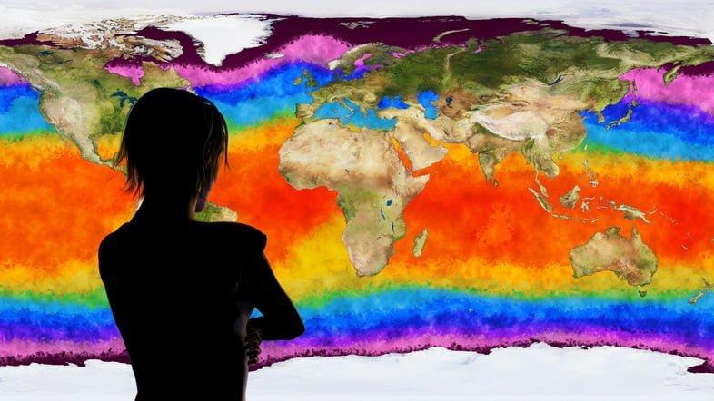 Трехмерная иллюстрация женщины, наблюдающей за симуляцией изменения климата Земли