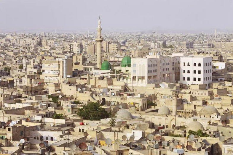 Вид с воздуха на древний город Алеппо, Сирия