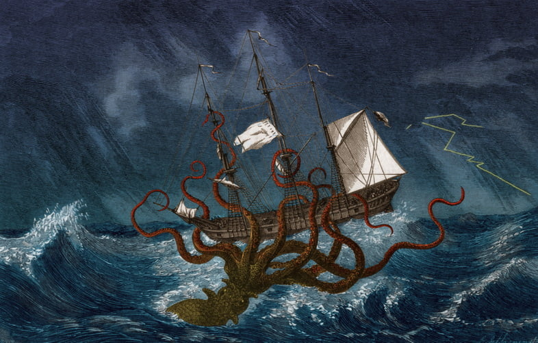Цветная иллюстрация кракена, или гигантского кальмара, нападающего на корабль, около 1890 года