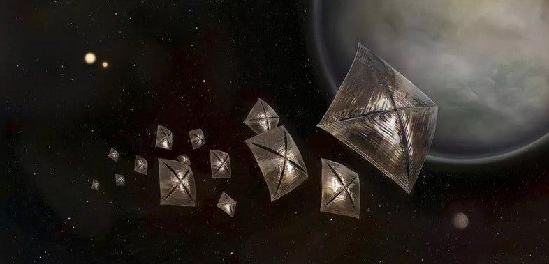 Иллюстрация будущего солнечного парусного космического корабля, изучающего экзопланеты в системе Центавра